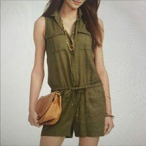 Ralph Lauren Linen Green Shorts Romper Sleeveless